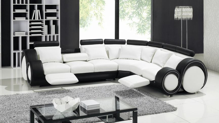 Stylo Corner Manual Reclining Italian Leather Sofa - The Furniture Mega Store