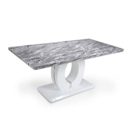 Large Marble Top High Gloss Grey & White Dining Table