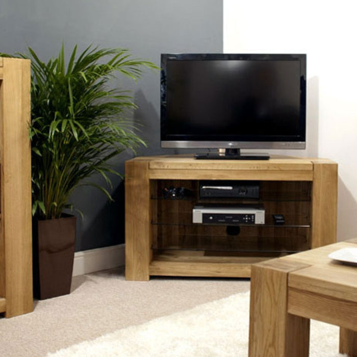 Trend Solid Chunky Oak Corner TV, DVD Video Stand