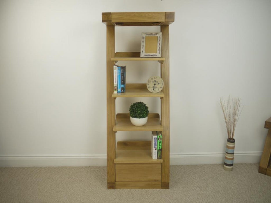 Solid Z Oak Designer 1 Drawer Narrow Bookcase
