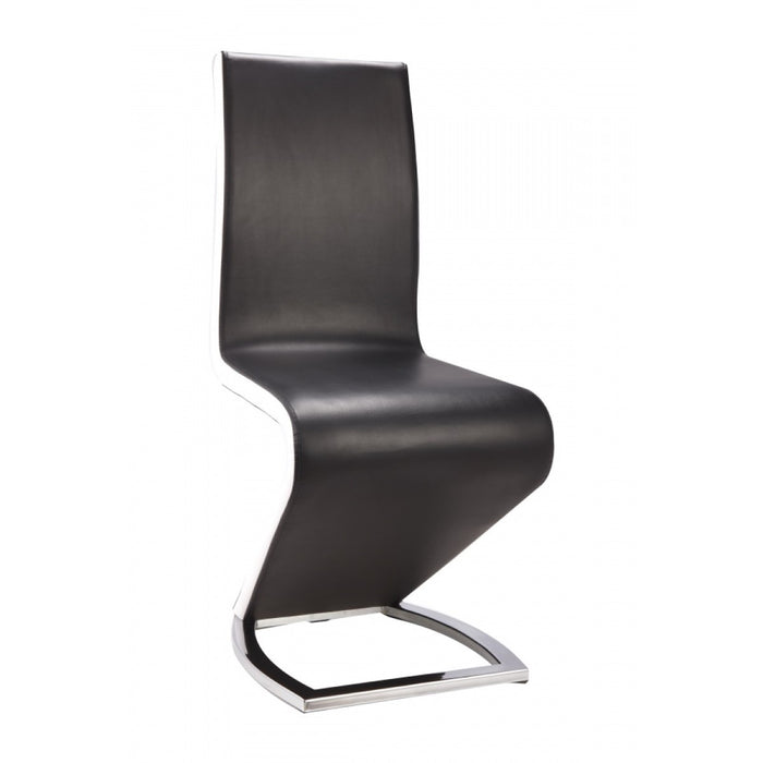 Spencer Dining Chairs Black Leather & White High Gloss Set Of 2