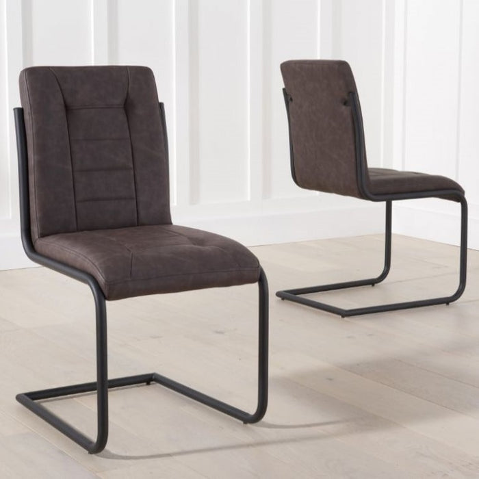Archie Brown Leather Dining Chairs - Set Of 2 - The Furniture Mega Store