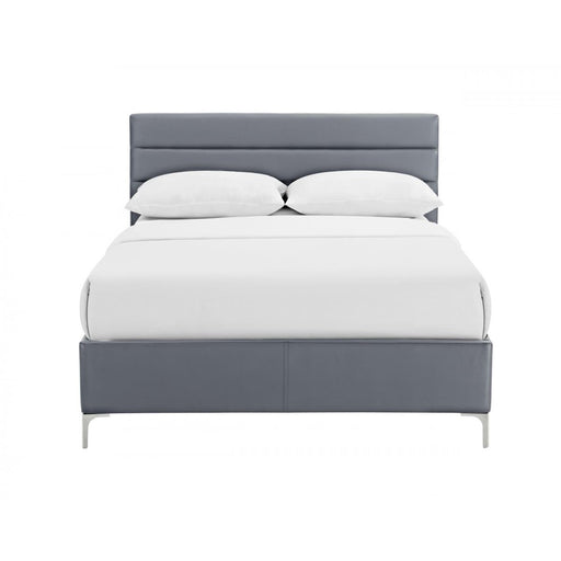 Grey Faux Leather 4'6 Double Bed