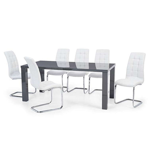 April 200cm Dark Grey High Gloss Dining Table & 6 White Dining Chairs - The Furniture Mega Store
