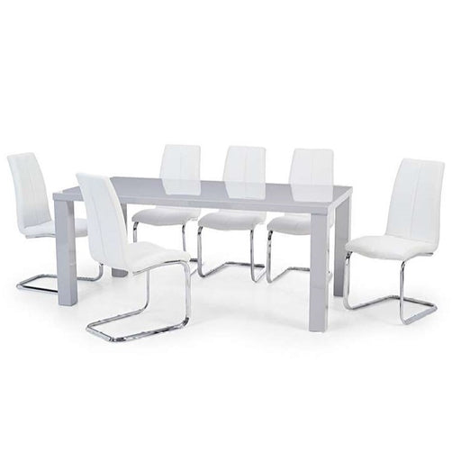 April 200cm Light Grey High Gloss Dining Set -Table & 6 White Dining Chairs - The Furniture Mega Store