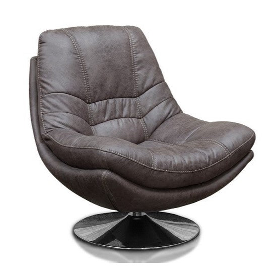 Luxe Fabric & Chrome Swivel Chair - Choice Of Colours