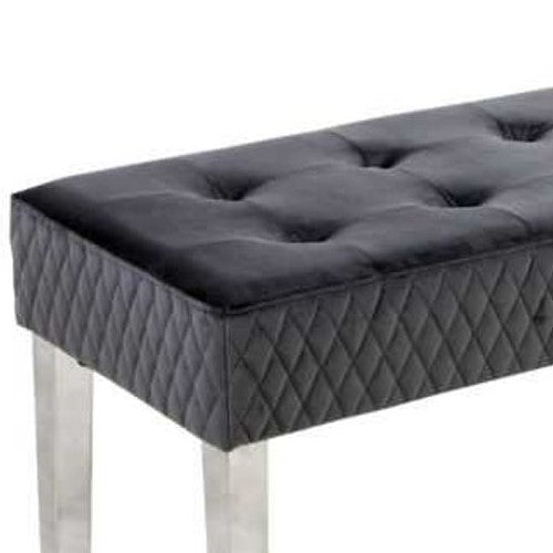 Grey Tufted Velvet Dining Bench With Chrome Legs - 140cm - The Furniture Mega Store