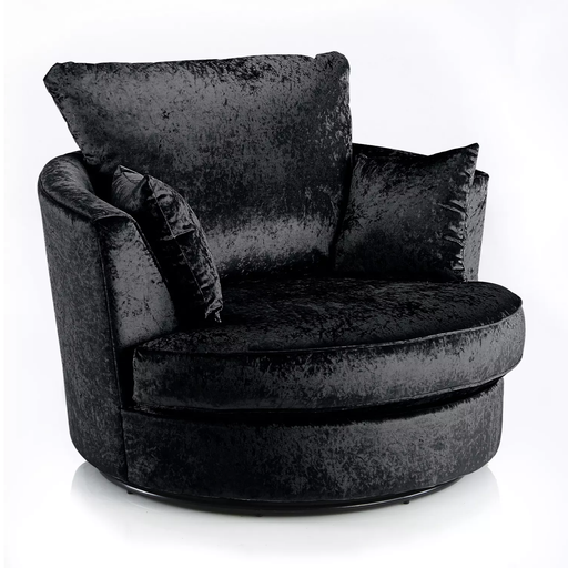 Delux Black Crushed Velvet Swivel Chair - The Furniture Mega Store