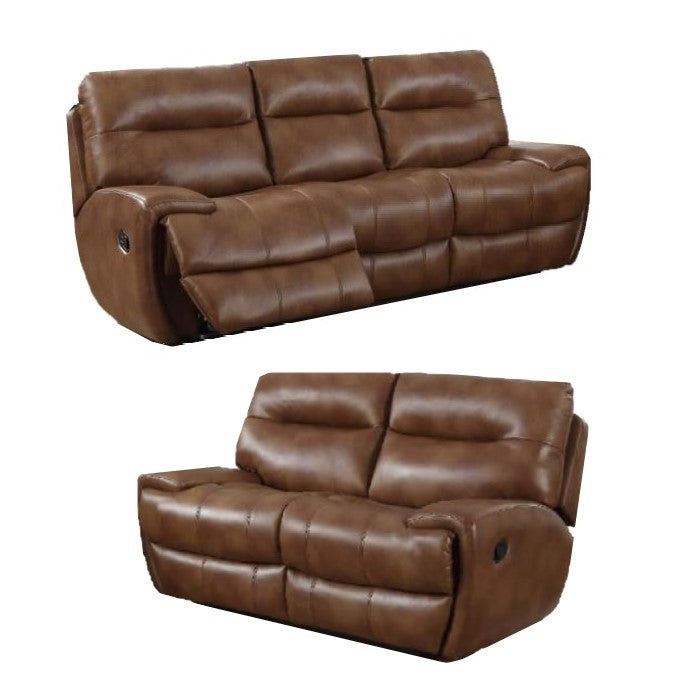 Vento Leather Recliner Sofa Set 3 + 2 Seater Tan