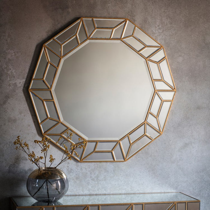 Celeste Decagon Wall Mirror - Gold - 105 cm Diameter