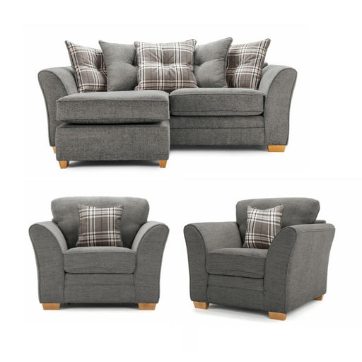 Charlotte Grey Fabric Scatter Back Chaise Sofa & Armchair Set  3 + 1 + 1