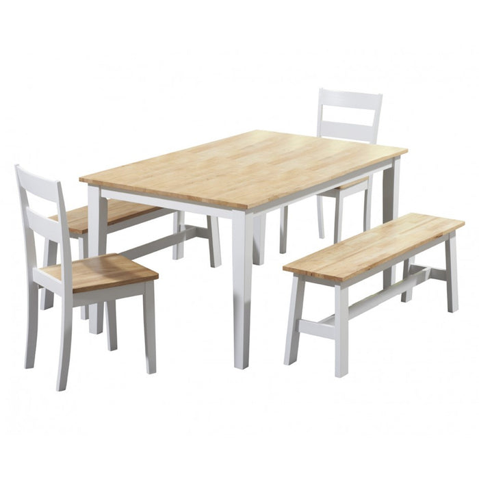 Chichester 150cm Oak & White Dining Table with 2 Dining Chairs & 2 Bench Seats
