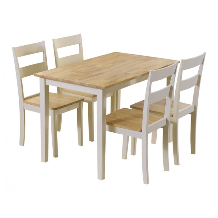 Chichester 115cm Oak & Cream Dining Table with 4 Dining Chairs