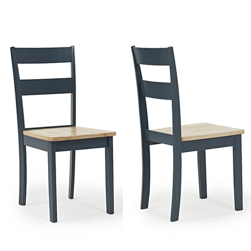 Chichester Oak & Blue Painted Dining Chairs - Set Of 2