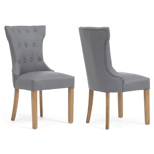 Courtney Grey Leather Dining Chairs - Set Of 2 - The Furniture Mega Store