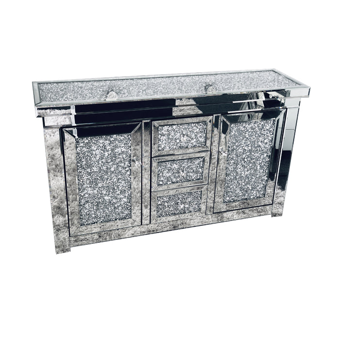 Diamond Crushed Mirrored Large Sideboard - The Furniture Mega Store