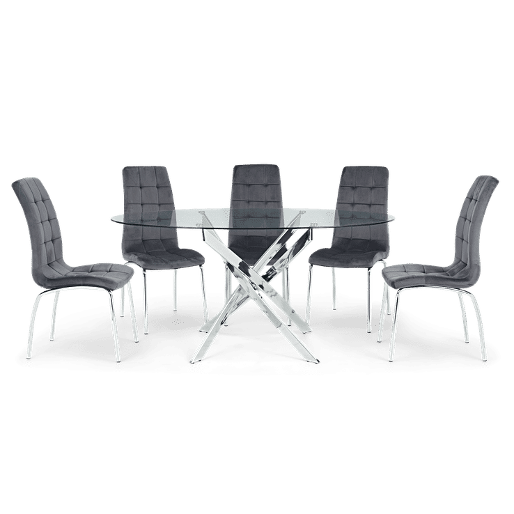 Daytona 165cm Oval Glass Dining Table with 6 Grey Velvet Dining Chairs - The Furniture Mega Store