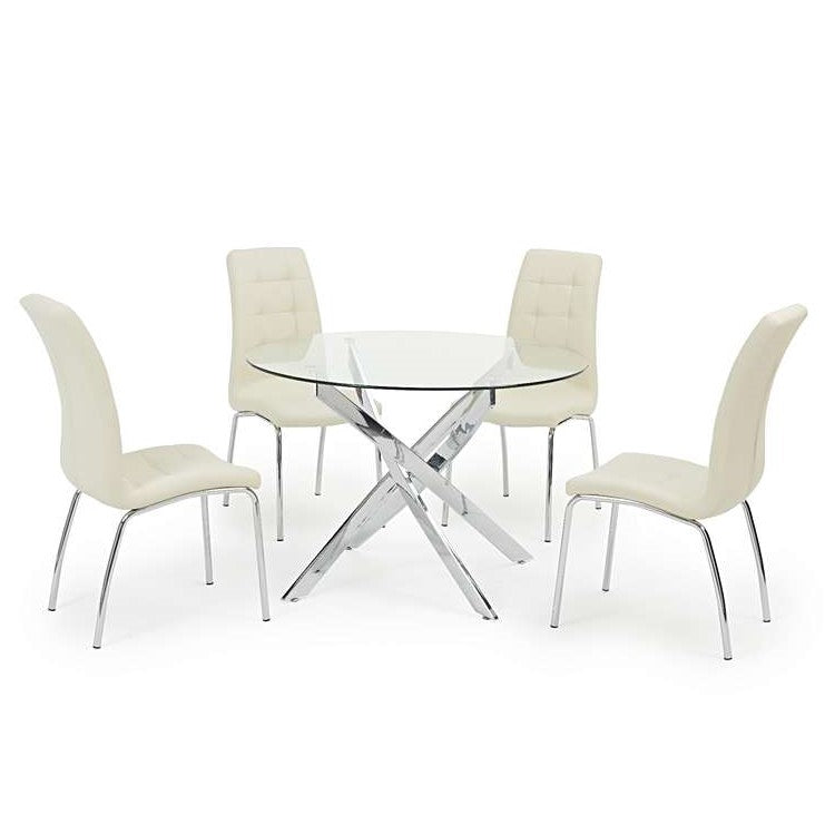 Daytona 110cm Glass Dining Table & 4 Ivory-White California Chairs