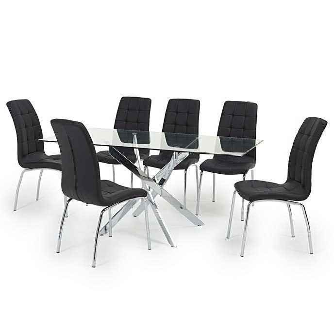 Daytona 160cm Glass Dining Table with Black Faux Leather 6 Dining Chairs - The Furniture Mega Store