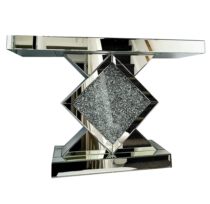Crushed Diamond Mirrored Centre Diamond Console Table - The Furniture Mega Store