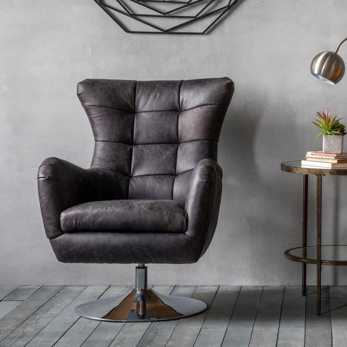 Bristol Swivel Chair - Antique Ebony Leather - The Furniture Mega Store