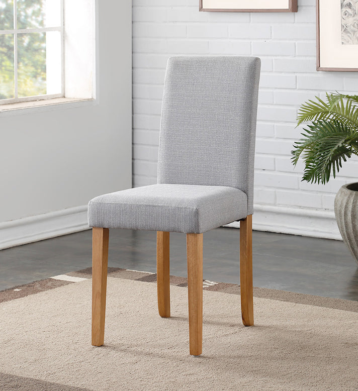 Hill Dining Chairs { Pair } Grey / Light Oak - The Furniture Mega Store