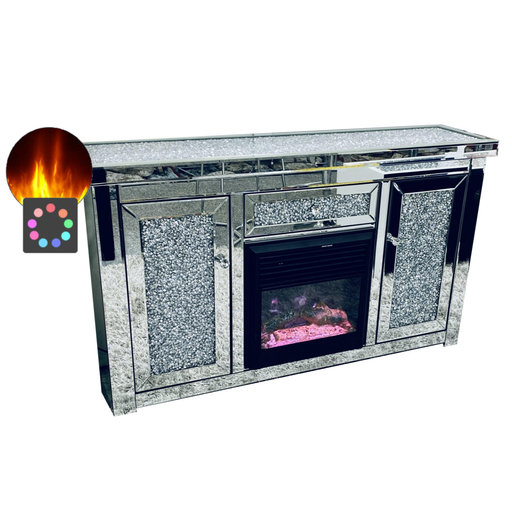 Crushed Diamond Top Mirrored Large Sideboard With Integrated Multi Colour Electric Fire - The Furniture Mega Store