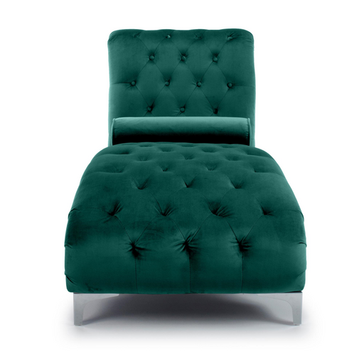 Luxury Green Velvet Chaise Longue - The Furniture Mega Store