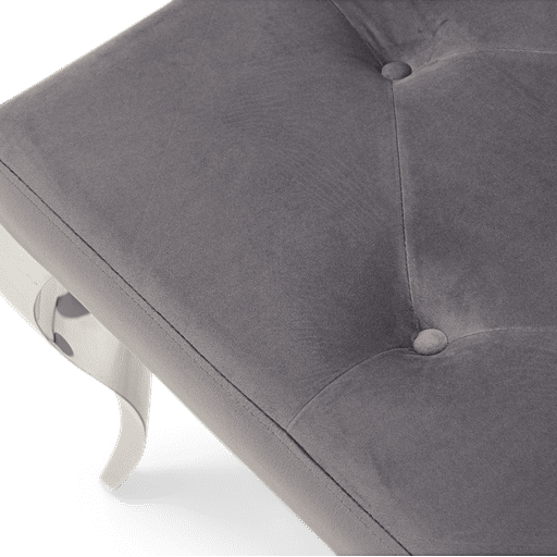Grey Velvet Bench With Curved Stainless Steel Legs - 130cm
