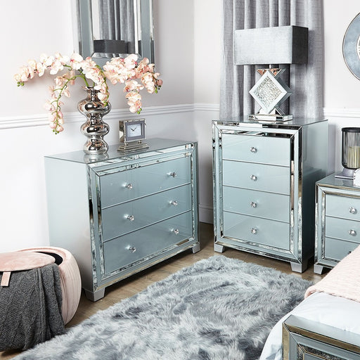 Ivy Grey Mirrored 4 Drawer Chest