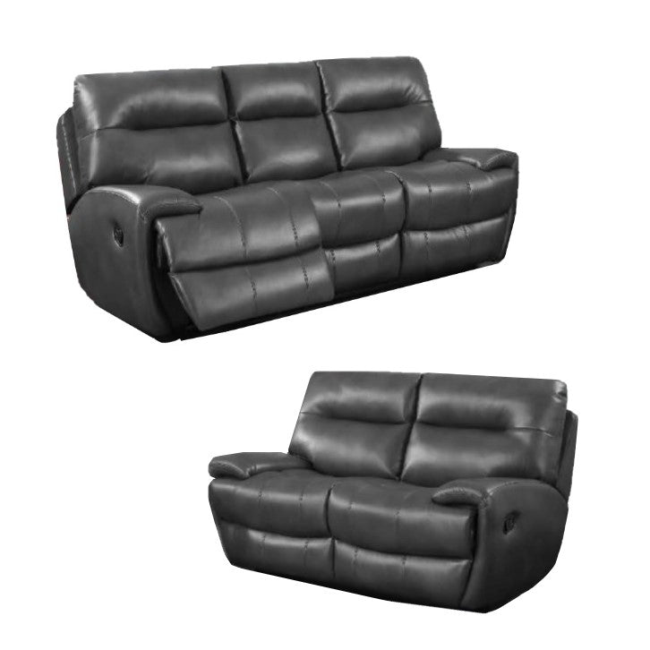 Vento Leather Recliner Sofa Set 3 + 2 Seater Grey