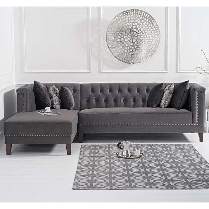 Toni Velvet Chaise Sofa Collection - Rhf Or Lhf - Choice Of Colours