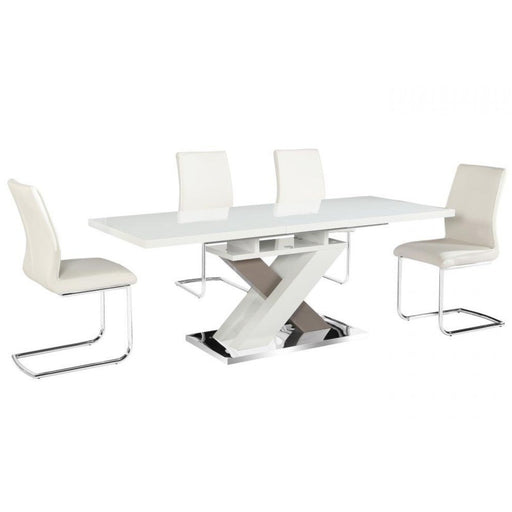 Nora Extending High Gloss Dining Set - Table & 6 Chairs - The Furniture Mega Store