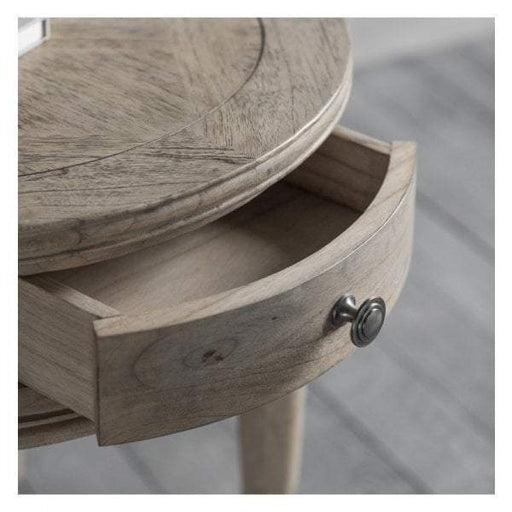 Mustique Round 1 Drawer Parquet Inlaid Side Table - The Furniture Mega Store