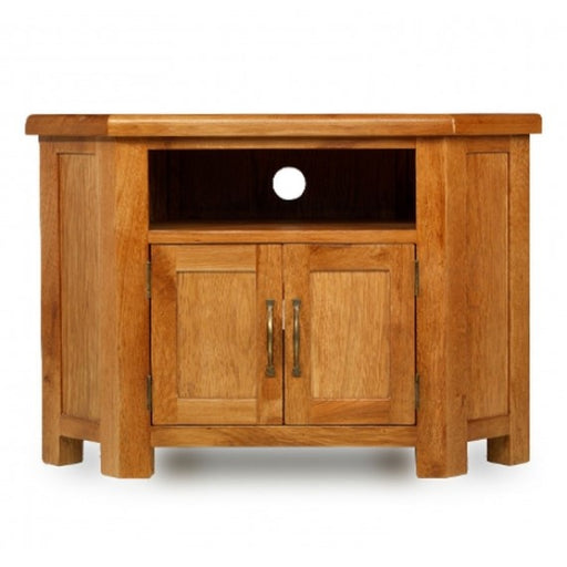 Earlswood Solid Oak Petite Corner TV Unit - The Furniture Mega Store
