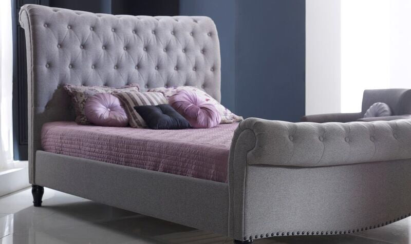 Larissa Grey Marl Fabric Upholstered Double Bed - 4'6