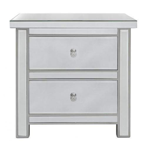 Classic Mirrored 2 Drawer Bedside Cabinet - The Furniture Mega Store