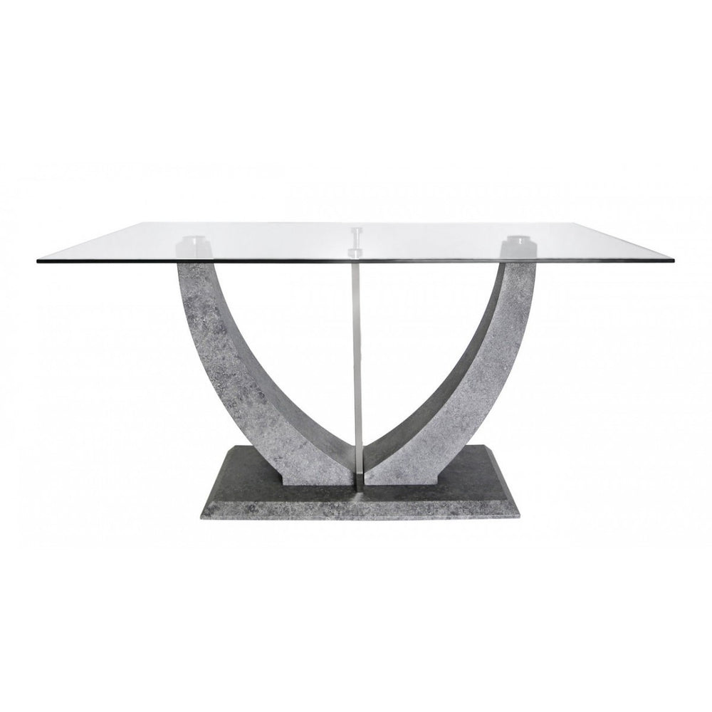Leah Glass & Metallic Base Dining Table - The Furniture Mega Store