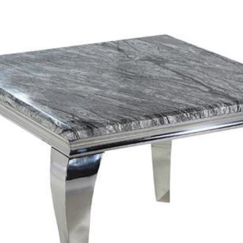 Louis Square Grey Marble & Polished Steel Dining Table - 100cm