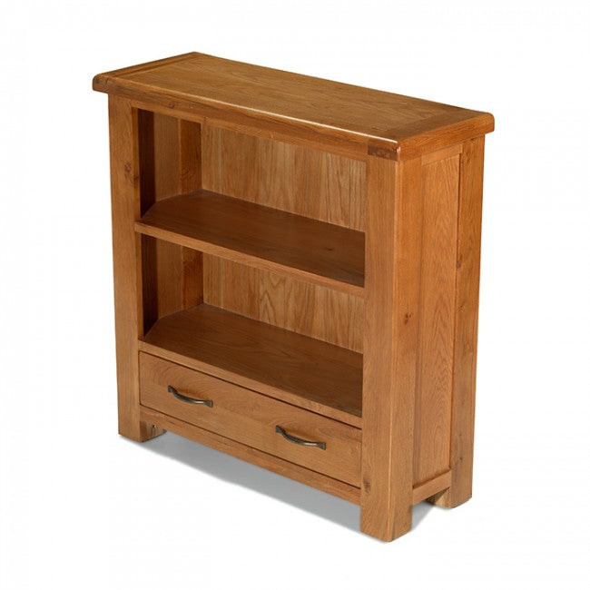 Earlswood Solid Oak 1 Drawer Low Bookcase - The Furniture Mega Store