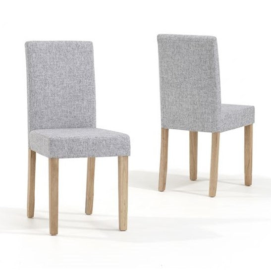 Oxford Oak 120cm Dining Table & 4 Maiya Grey Fabric & Oak Dining Chairs - The Furniture Mega Store