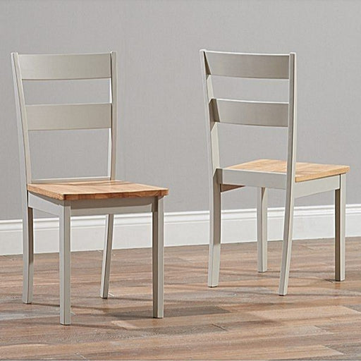 Chichester Solid Hardwood & Grey Painted Dining Chairs {Set Of 2}