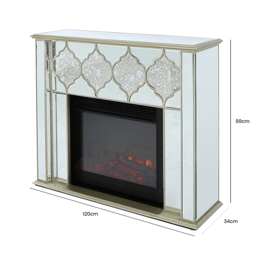 Marrakech Gold Mirrored Fire Surround with Electric Fire Insert - The Furniture Mega Store