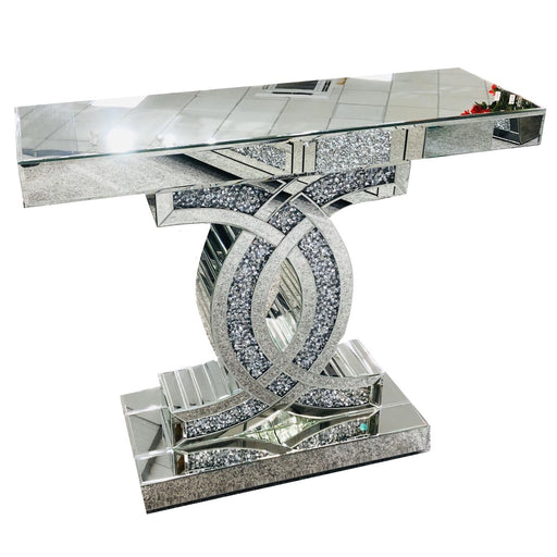 Medium Crushed Diamond Mirrored CC Console Table - The Furniture Mega Store