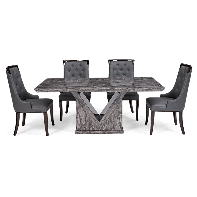 Evelyn 160cm Grey Marble Dining Table & 4 Evelyn Grey Faux Leather Dining Chairs