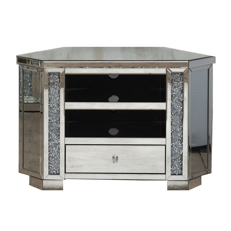 Diamond Crushed Mirrored Corner TV Cabinet