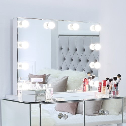 Large Broadway 10 Light Dimmable Vanity Mirror - The Furniture Mega Store