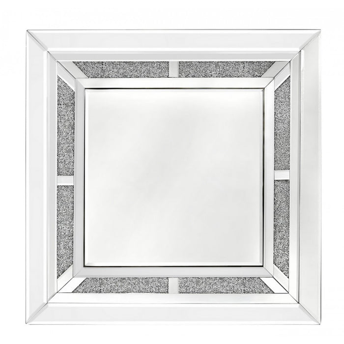 Square Inlaid Crystal Wall Mirror - The Furniture Mega Store
