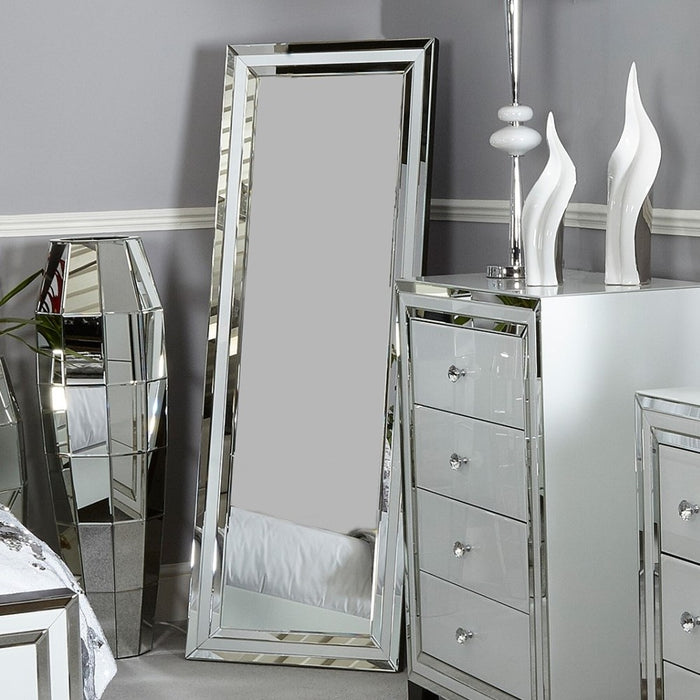 Ivy White Mirrored Floor / Leaner Mirror - The Furniture Mega Store