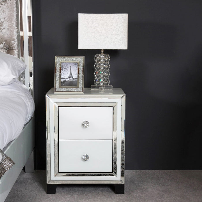 Ivy White Mirrored Compact Bedside Cabinet - The Furniture Mega Store